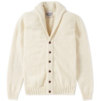 Jamiesons Of Shetland Jamieson's Elbow Patch Shawl Collar Cardigan Neutrals