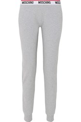 Moschino Intarsia Trimmed Stretch Cotton Jersey Track Pants Gray