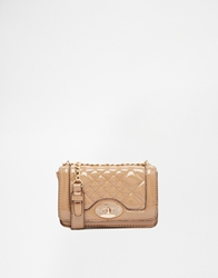 Mango Quilted Patent Cross Body Bag Taupe