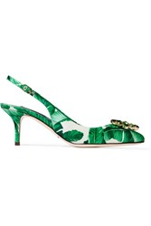 Dolce And Gabbana Embellished Printed Satin Slingback Pumps Green