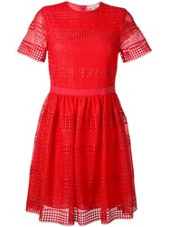 Michael Kors Lace Detail Shift Dress Red