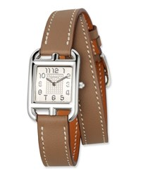 Herm S Cape Cod Pm Stainless Steel And Double Tour Leather Strap Watch