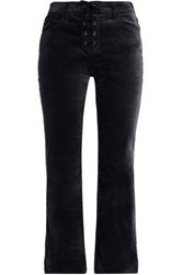 Ag Adriano Goldschmied Lace Up Velvet Flared Pants Black