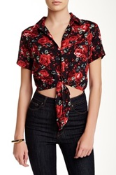 American Apparel Printed Tie Front Blouse Pink