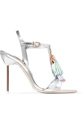 Sophia Webster Layla Tasseled Mirrored Leather Sandals Silver