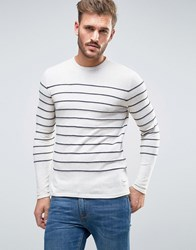 Only And Sons Jumper With Knitted Stripe Cloud Dancer White