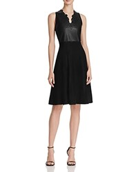 Guess Faux Leather Fit And Flare Dress Jet Black
