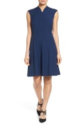 Ellen Tracy Fit And Flare Dress Blue
