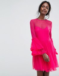 Lace And Beads Dobbie Mesh Sheer Mini Dress With Exaggerated Sleeve Fusciha Pink