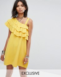 Rokoko One Shoulder Dress With Frill Yellow
