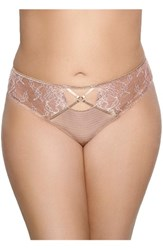 Ashley Graham Plus Size Women's Lace Thong Capuccino