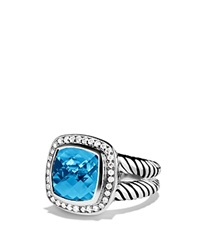 David Yurman Albion Ring With Blue Topaz And Diamonds Silver