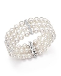 Bloomingdale's Cultured Freshwater Pearl And Diamond Bracelet In 18K White Gold