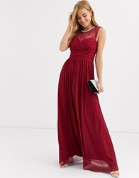 Lipsy Ruched Maxi Dress With Lace Yolk And Embellished Neck In Berry Red