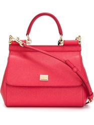 Dolce And Gabbana Small 'Sicily' Tote Pink And Purple
