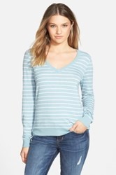 Bp Stripe V Neck Pullover Juniors Blue