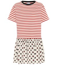 Red Valentino Mixed Print T Shirt Dress Red