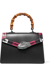 Gucci Lilith Bamboo Small Embellished Elaphe Trimmed Leather Tote Black
