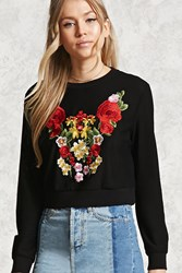 Forever 21 Floral Embroidered Mesh Top Black Red