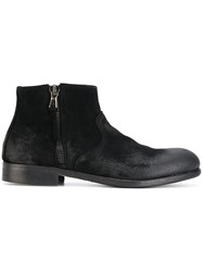 Le Qarant Zip Up Boots Leather Suede Black