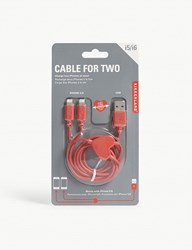 Kikkerland Dual Heart Iphone Charging Cable 91Cm