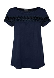 Hallhuber T Shirt With Sheer Lace Insert Blue
