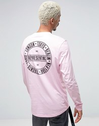 Asos Longline Long Sleeve T Shirt With City Back Placement Pink