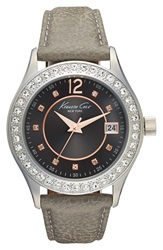 Kenneth Cole Crystal Bezel Leather Strap Watch 38Mm Silver Grey