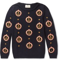 Gucci Anchor Embroidered Cotton Sweater Navy