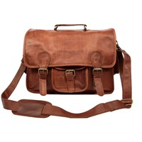 Mahi Leather Large Harvard Satchel Messenger School Work Bag In Vintage Brown
