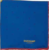 Duchamp Dot Print Pocket Square Blue