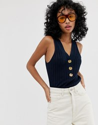 Whistles Button Detail Knit Vest Navy