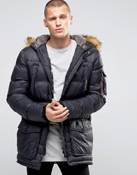 11 Degrees Parka With Faux Fur Hood Black