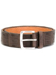 Orciani Crocodile Effect Belt Brown