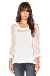 1. State 3 4 Sleeve Open Mesh Sweater White
