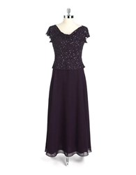 J Kara Petite Petite Beaded Flutter Sleeve Dress Plum Shaded