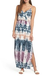One Clothing Tie Dye Surplice Maxi Dress Teal Multi