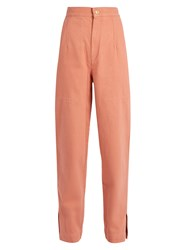 Isabel Marant Elwood High Rise Denim Peg Leg Trousers Pink