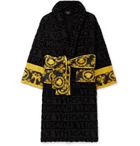 Versace Printed Satin Trimmed Logo Jacquard Cotton Terry Robe Black