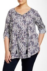 Daniel Rainn Split Neck Printed Blouse Plus Size Multi