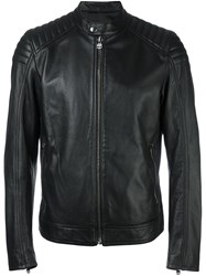 Hydrogen Zipped Leather Jacket Black
