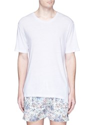 Insted We Smile Anchor Embroidered Linen T Shirt White