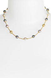Majorica 8Mm Pearl Station Necklace Gold Champagne