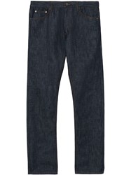 Burberry Straight Fit Japanese Selvedge Denim Jeans Blue