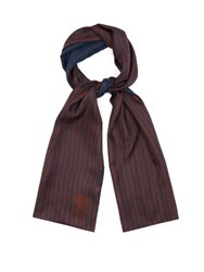 Alexander Mcqueen Striped Silk Scarf Navy Multi
