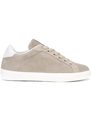 Leather Crown Perforated Sneakers Nude Neutrals