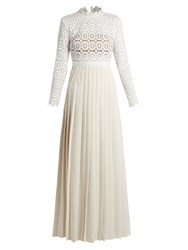Self Portrait Long Sleeved Lace And Crepe Maxi Dress Ivory