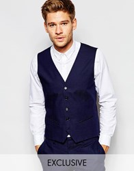 Selected Homme Exclusive Pin Dot Waistcoat In Skinny Fit Blue