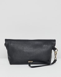 Paul Costelloe Real Leather Roll Down Clutch Black