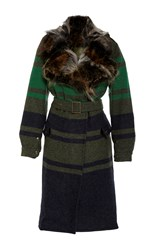Mr And Mrs Italy Military Wool Patch Coyote Trench Coat Stripe